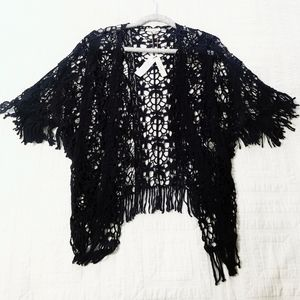 Black croquet bobo open shirtsleeves cardigan S M